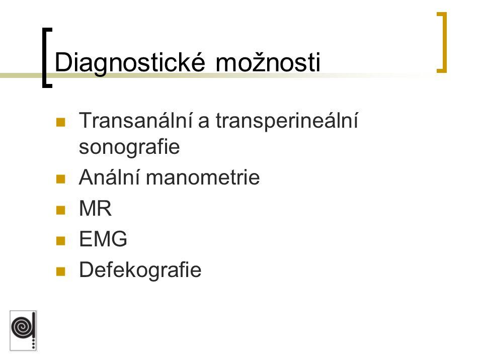 Diagnostické možnosti Transanální a transperineální sonografie Anální manometrie MR EMG Defekografie