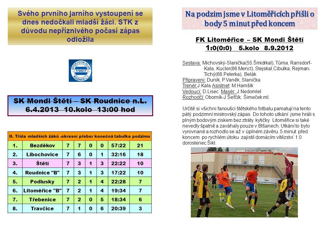 Na podzim jsme v Litoměřicích přišli o body 5 minut před koncem FK Litoměřice – SK Mondi Štětí 1 :0(0:0) 5.kolo 8.9.2012 Sestava: Michovský-Slanička(5