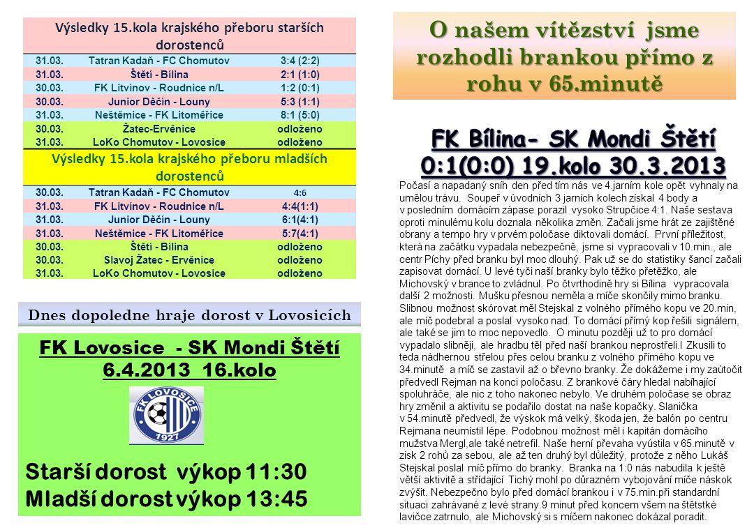 Výsledky 15.kola krajského přeboru starších dorostenců 31.03.Tatran Kadaň - FC Chomutov3:4 (2:2) 31.03.Štětí - Bílina2:1 (1:0) 30.03.FK Litvínov - Rou