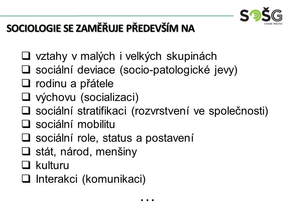 SOCIOLOGIE SE ZAMĚŘUJE PŘEDEVŠÍM NA  vztahy v malých i velkých skupinách  sociální deviace (socio-patologické jevy)  rodinu a přátele  výchovu (socializaci)  sociální stratifikaci (rozvrstvení ve společnosti)  sociální mobilitu  sociální role, status a postavení  stát, národ, menšiny  kulturu  Interakci (komunikaci) …
