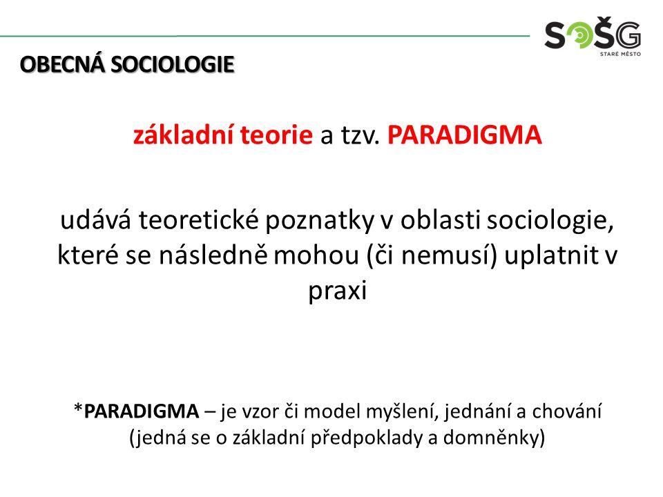 OBECNÁ SOCIOLOGIE OBECNÁ SOCIOLOGIE základní teorie a tzv.