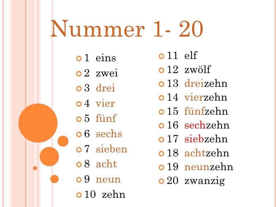 Nummer 1- 20 1 eins 2 zwei 3 drei 4 vier 5 fünf 6 sechs 7 sieben 8 acht 9 neun 10 zehn 11 elf 12 zwölf 13 dreizehn 14 vierzehn 15 fünfzehn 16 sechzehn 17 siebzehn 18 achtzehn 19 neunzehn 20 zwanzig