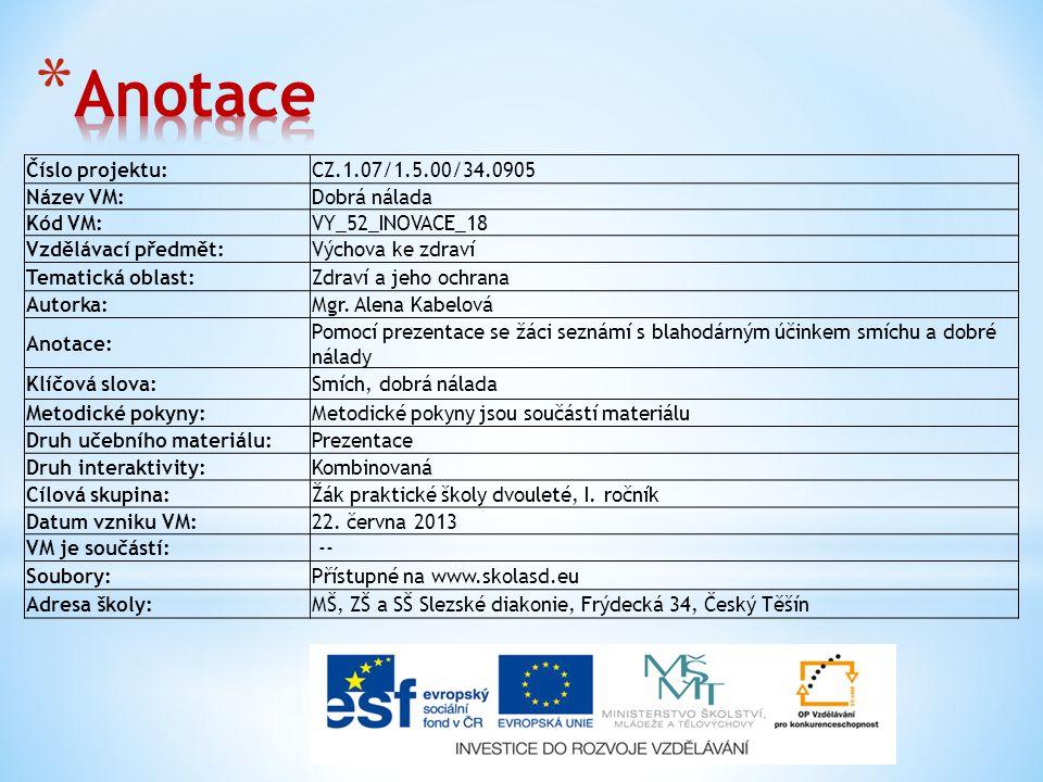 Číslo projektu:CZ.1.07/1.5.00/34.0905 Název VM:Dobrá nálada Kód VM:VY_52_INOVACE_18 Vzdělávací předmět:Výchova ke zdraví Tematická oblast:Zdraví a jeho ochrana Autorka:Mgr.