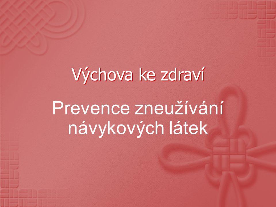 Výchova ke zdraví Prevence zneužívání návykových látek