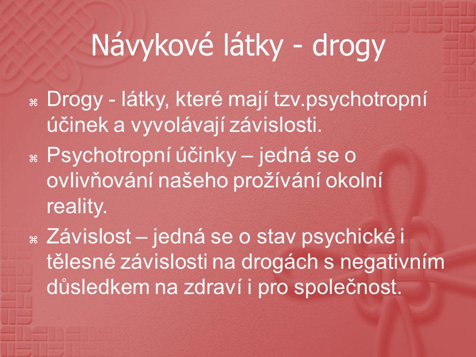 Návykové látky - drogy  Drogy - látky, které mají tzv.psychotropní účinek a vyvolávají závislosti.  Psychotropní účinky – jedná se o ovlivňování naš