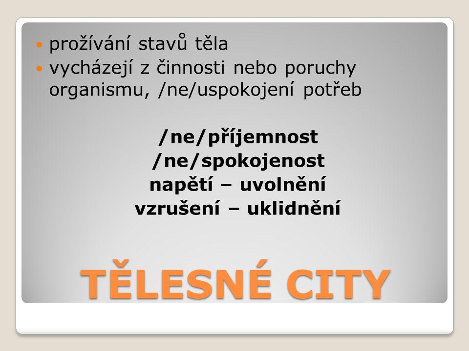 TĚLESNÉ CITY prožívání stavů těla vycházejí z činnosti nebo poruchy organismu, /ne/uspokojení potřeb /ne/příjemnost /ne/spokojenost napětí – uvolnění