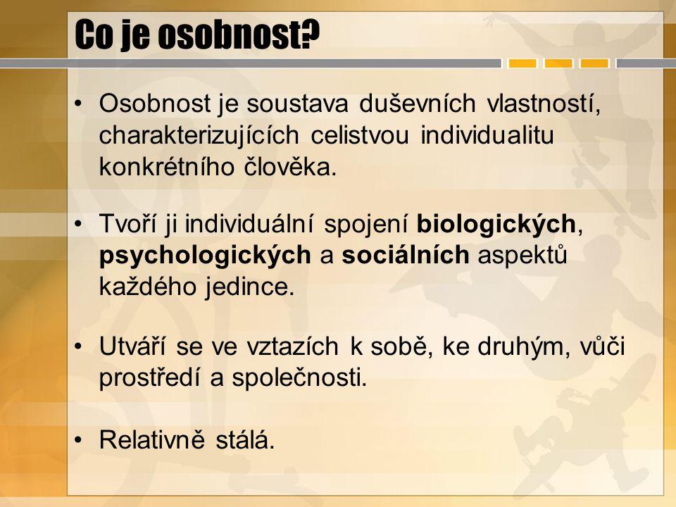 Co je osobnost? Osobnost je soustava duševních vlastností, charakterizujících celistvou individualitu konkrétního člověka. Tvoří ji individuální spoje
