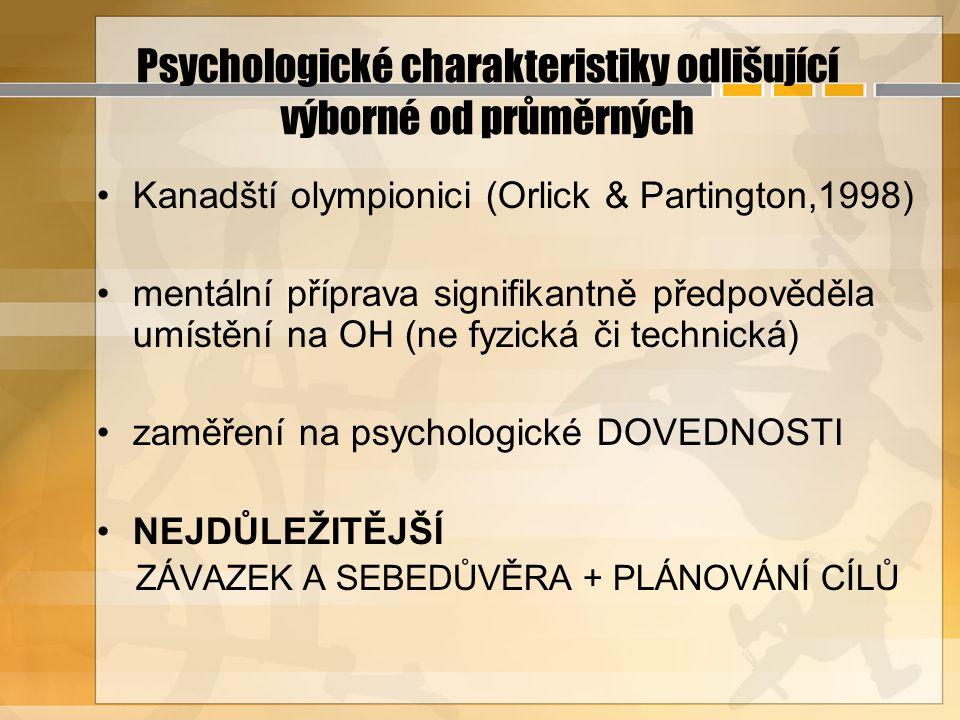 Psychologické charakteristiky odlišující výborné od průměrných Kanadští olympionici (Orlick & Partington,1998) mentální příprava signifikantně předpov