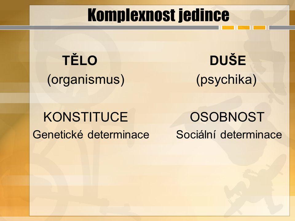 Komplexnost jedince TĚLO DUŠE (organismus) (psychika) KONSTITUCE OSOBNOST Genetické determinace Sociální determinace