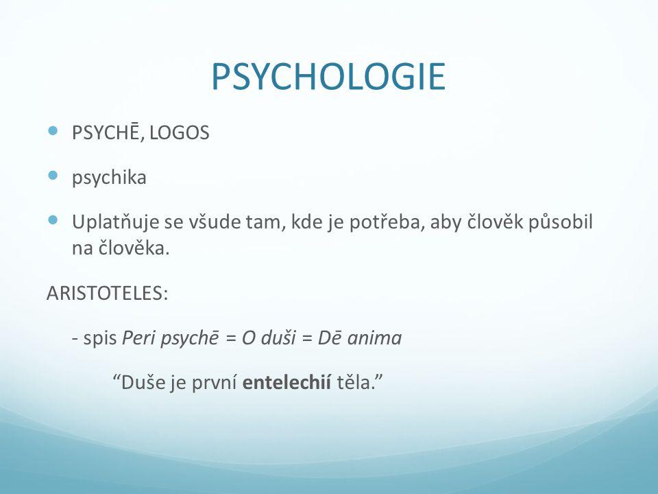 PSYCHOLOGIE PSYCHĒ, LOGOS psychika Uplatňuje se všude tam, kde je potřeba, aby člověk působil na člověka.