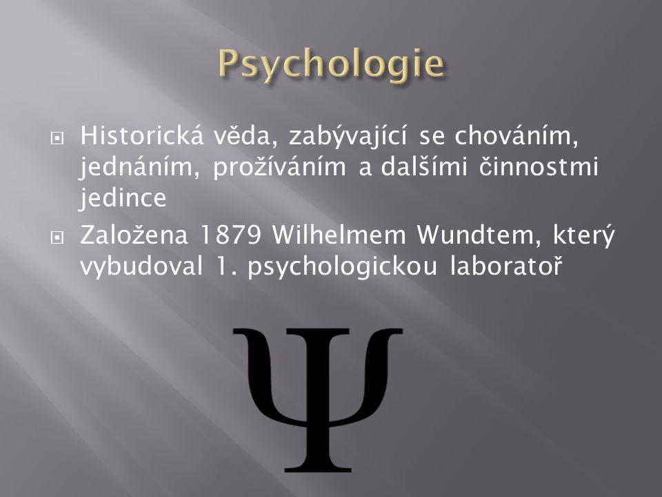  Historická v ě da, zabývající se chováním, jednáním, pro ž íváním a dalšími č innostmi jedince  Zalo ž ena 1879 Wilhelmem Wundtem, který vybudoval 1.