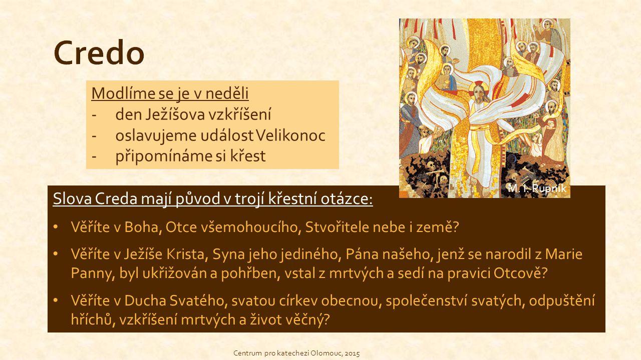 Centrum pro katechezi Olomouc, 2015 Modlíme se je v neděli -den Ježíšova vzkříšení -oslavujeme událost Velikonoc -připomínáme si křest Slova Creda maj