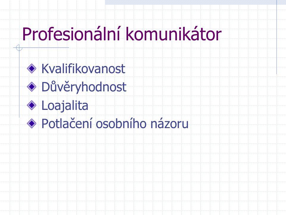 Profesionální komunikátor Kvalifikovanost Důvěryhodnost Loajalita Potlačení osobního názoru