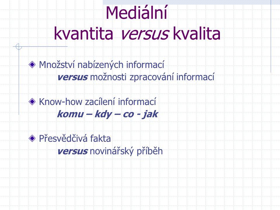 Mediální kvantita versus kvalita Množství nabízených informací versus možnosti zpracování informací Know-how zacílení informací komu – kdy – co - jak Přesvědčivá fakta versus novinářský příběh