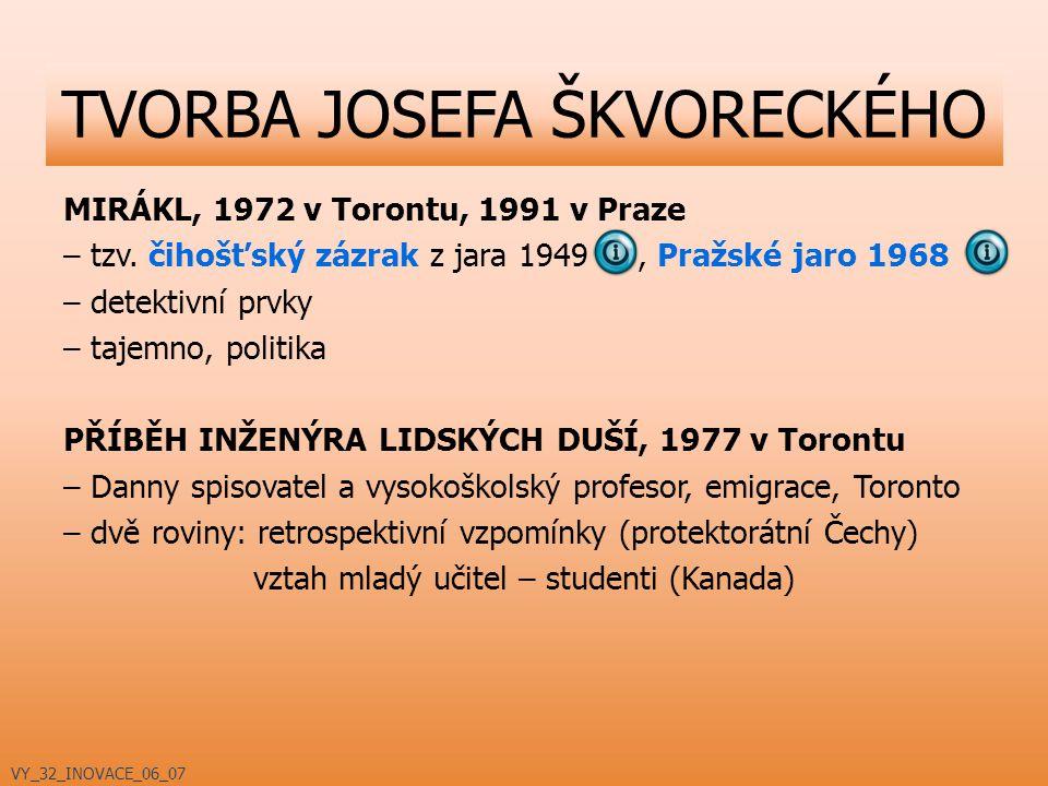 MIRÁKL, 1972 v Torontu, 1991 v Praze – tzv. čihošťský zázrak z jara 1949, Pražské jaro 1968 – detektivní prvky – tajemno, politika PŘÍBĚH INŽENÝRA LID