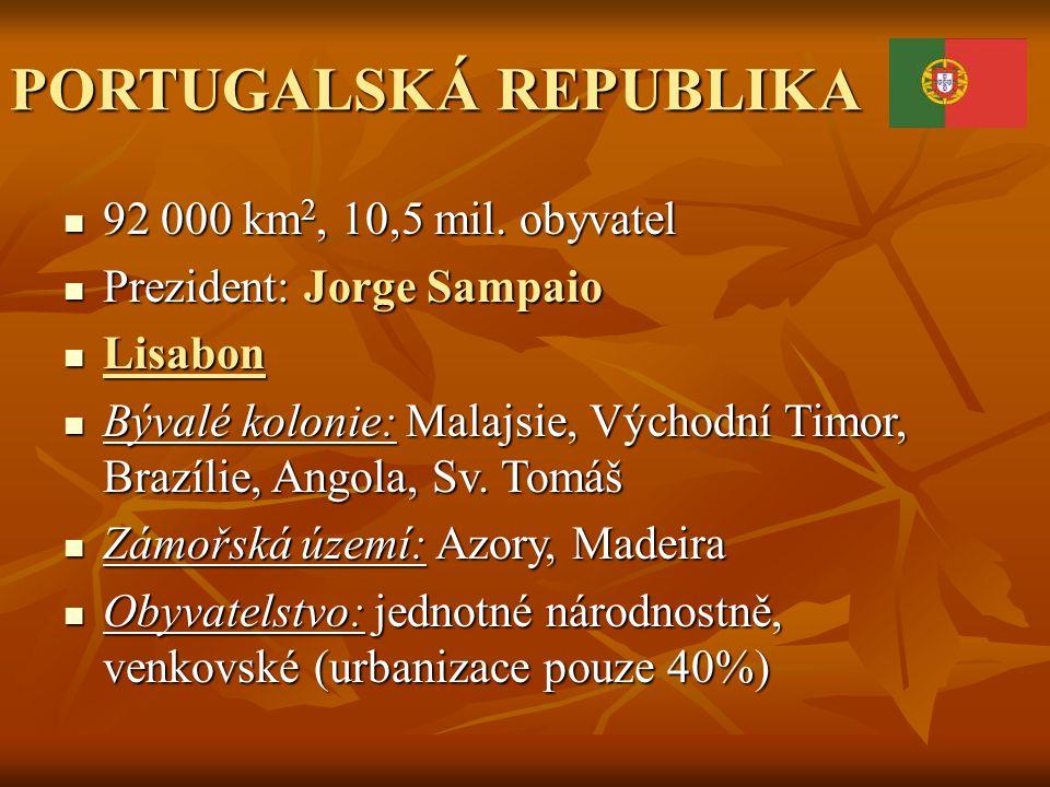 PORTUGALSKÁ REPUBLIKA 92 000 km 2, 10,5 mil. obyvatel 92 000 km 2, 10,5 mil. obyvatel Prezident: Jorge Sampaio Prezident: Jorge Sampaio Lisabon Lisabo