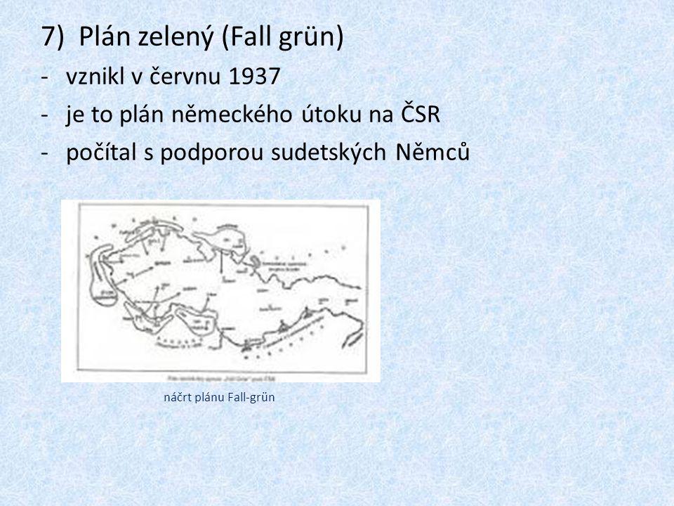 7)Plán zelený (Fall grün) -vznikl v červnu 1937 -je to plán německého útoku na ČSR -počítal s podporou sudetských Němců náčrt plánu Fall-grün