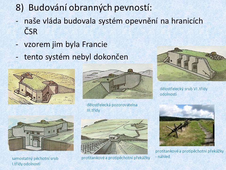 8)Budování obranných pevností: -naše vláda budovala systém opevnění na hranicích ČSR -vzorem jim byla Francie -tento systém nebyl dokončen dělostřelecká pozorovatelna III.třídy dělostřelecký srub VI.třídy odolnosti samostatný pěchotní srub I.třídy odolnosti protitankové a protipěchotní překážky protitankové a protipěchotní překážky - náhled