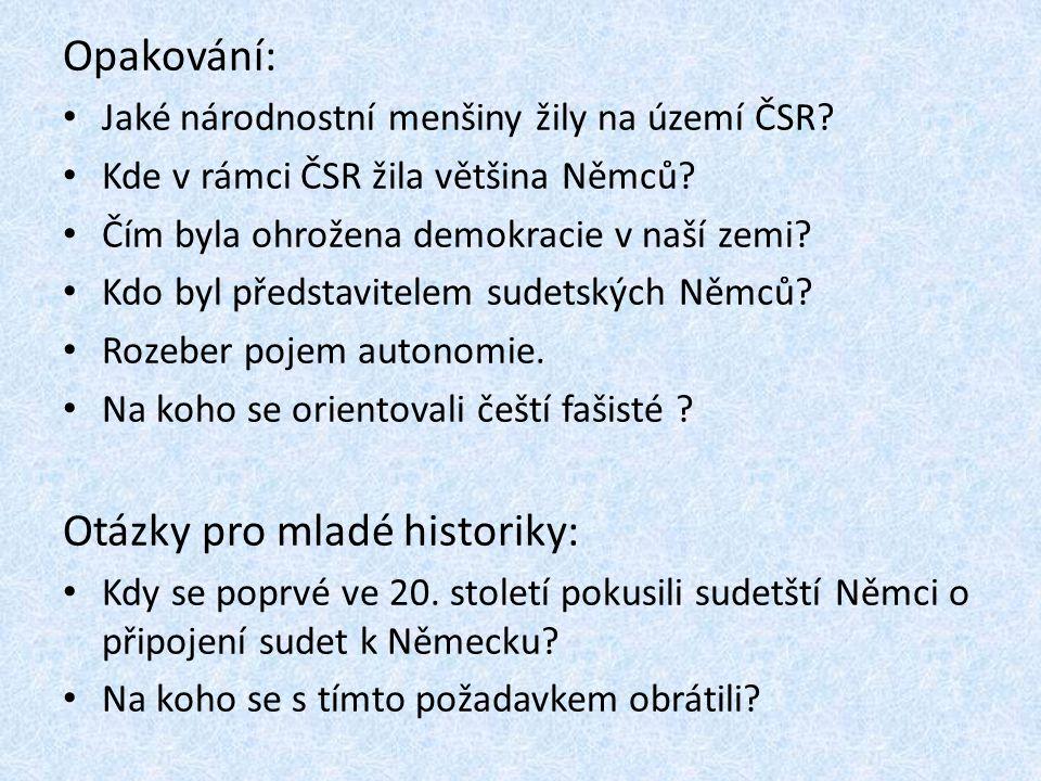 Opakování: Jaké národnostní menšiny žily na území ČSR.