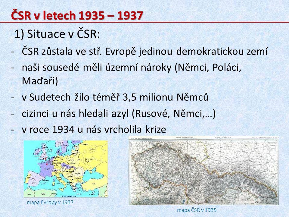 ČSR v letech 1935 – 1937 1) Situace v ČSR: -ČSR zůstala ve stř.