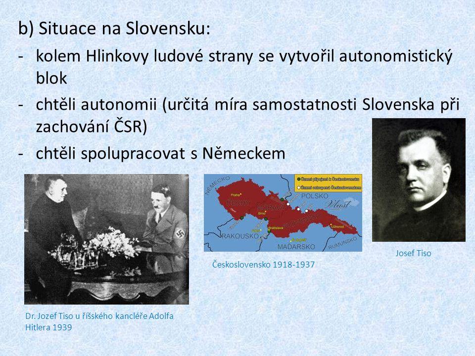 b) Situace na Slovensku: -kolem Hlinkovy ludové strany se vytvořil autonomistický blok -chtěli autonomii (určitá míra samostatnosti Slovenska při zachování ČSR) -chtěli spolupracovat s Německem Josef Tiso Dr.