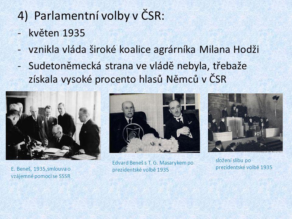 4)Parlamentní volby v ČSR: -květen 1935 -vznikla vláda široké koalice agrárníka Milana Hodži -Sudetoněmecká strana ve vládě nebyla, třebaže získala vysoké procento hlasů Němců v ČSR Edvard Beneš s T.
