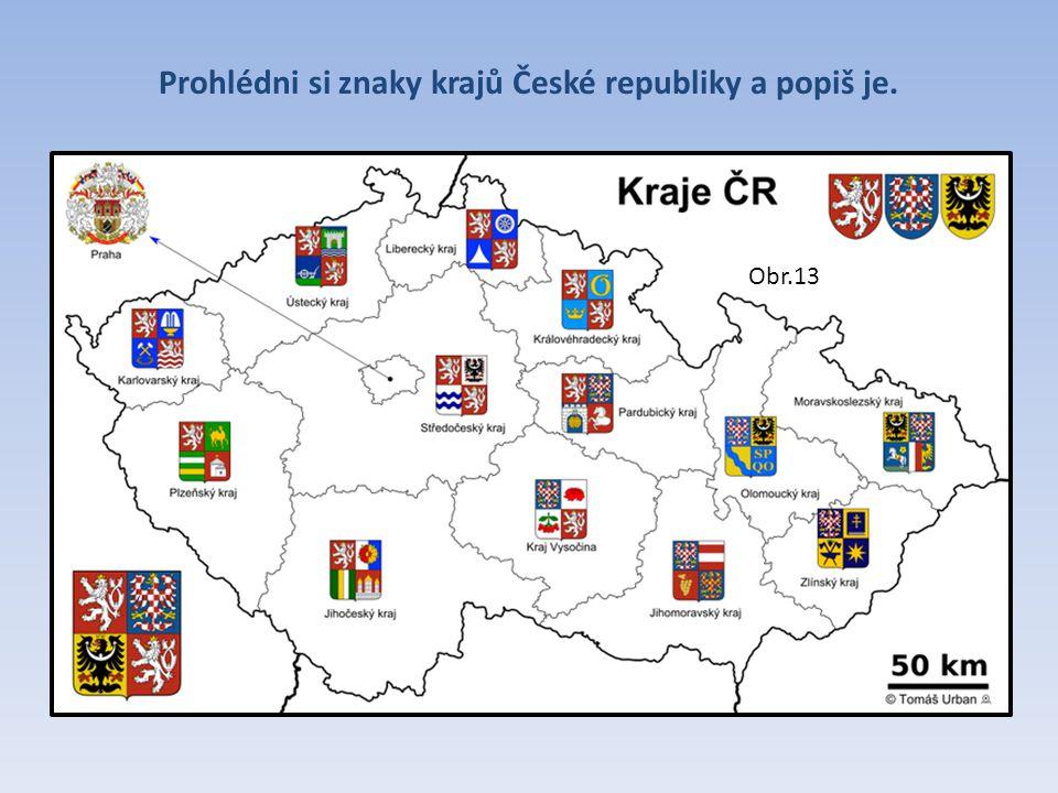 Prohlédni si znaky krajů České republiky a popiš je. Obr.13