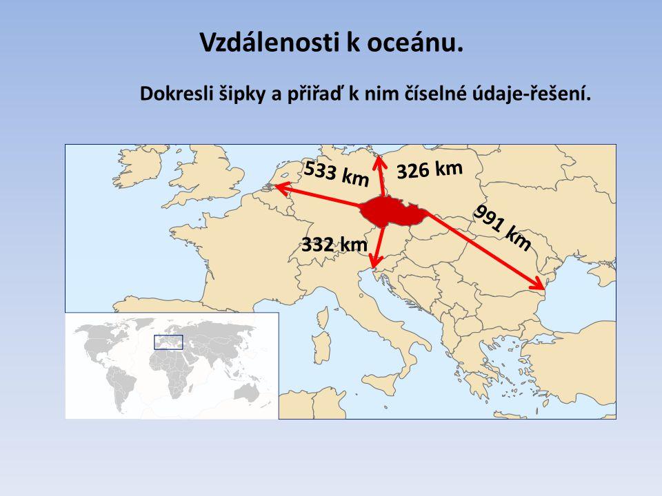 Vzdálenosti k oceánu. 332 km 326 km 533 km 991 km Dokresli šipky a přiřaď k nim číselné údaje-řešení.