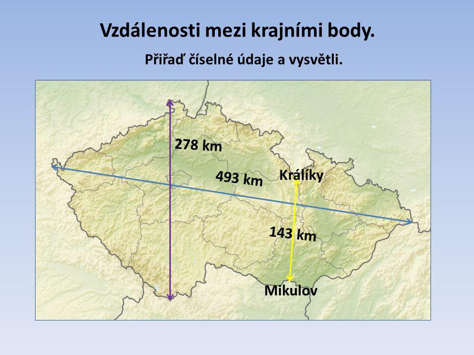Vzdálenosti mezi krajními body. 493 km 278 km 143 km Přiřaď číselné údaje a vysvětli. Králíky Mikulov