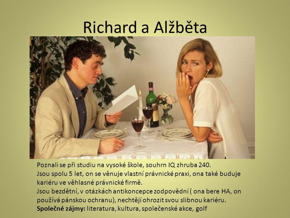 Richard a Alžběta Poznali se při studiu na vysoké škole, souhrn IQ zhruba 240.