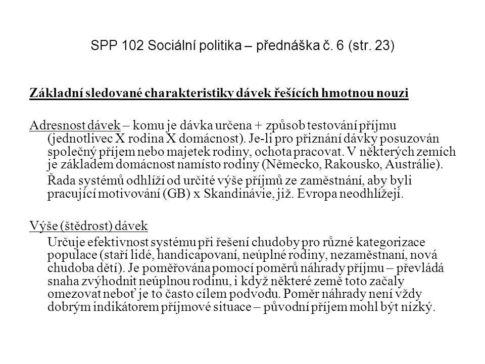 SPP 102 Sociální politika – přednáška č. 6 (str. 23) Základní sledované charakteristiky dávek řešících hmotnou nouzi Adresnost dávek – komu je dávka u