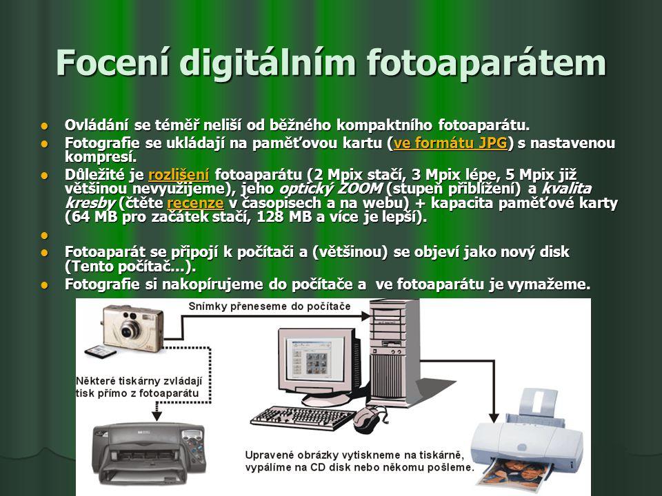 Focení digitálním fotoaparátem Ovládání se téměř neliší od běžného kompaktního fotoaparátu. Ovládání se téměř neliší od běžného kompaktního fotoaparát