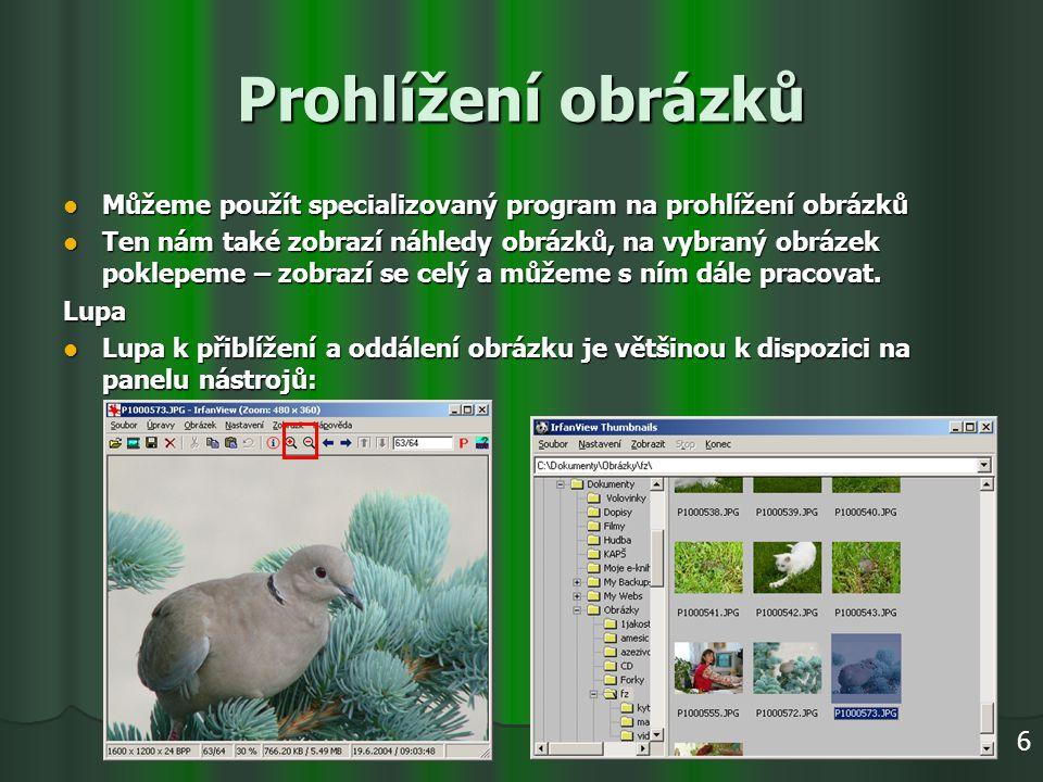 Prohlížení obrázků Můžeme použít specializovaný program na prohlížení obrázků Můžeme použít specializovaný program na prohlížení obrázků Ten nám také