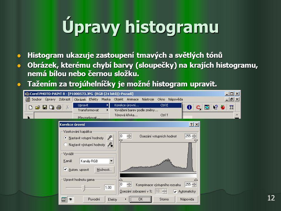 Úpravy histogramu Histogram ukazuje zastoupení tmavých a světlých tónů Histogram ukazuje zastoupení tmavých a světlých tónů Obrázek, kterému chybí bar