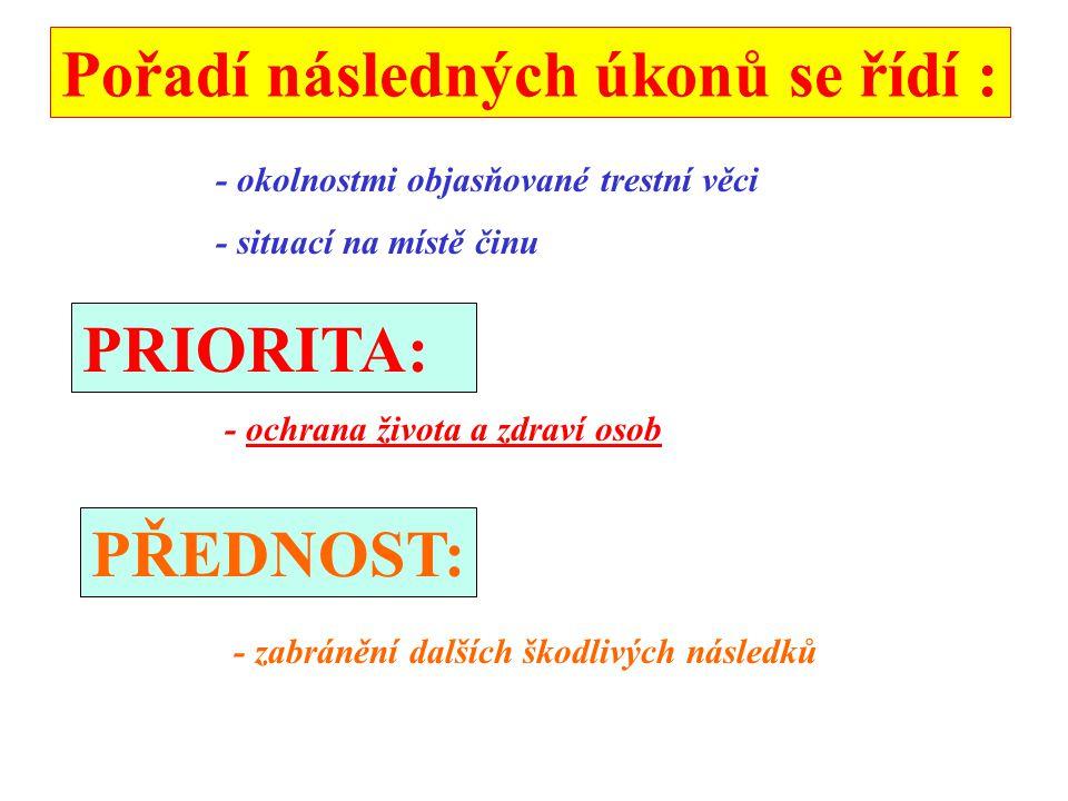 Pořadí následných úkonů se řídí : - okolnostmi objasňované trestní věci - situací na místě činu PRIORITA: - ochrana života a zdraví osob PŘEDNOST: - z