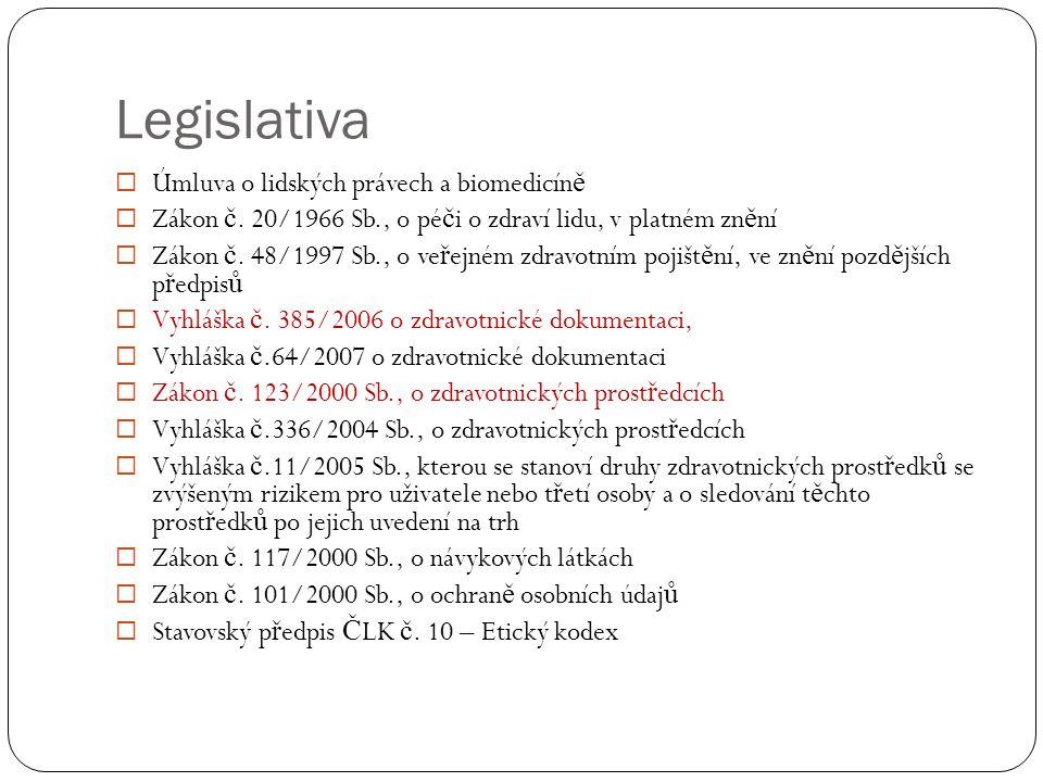 Legislativa  Úmluva o lidských právech a biomedicín ě  Zákon č. 20/1966 Sb., o pé č i o zdraví lidu, v platném zn ě ní  Zákon č. 48/1997 Sb., o ve