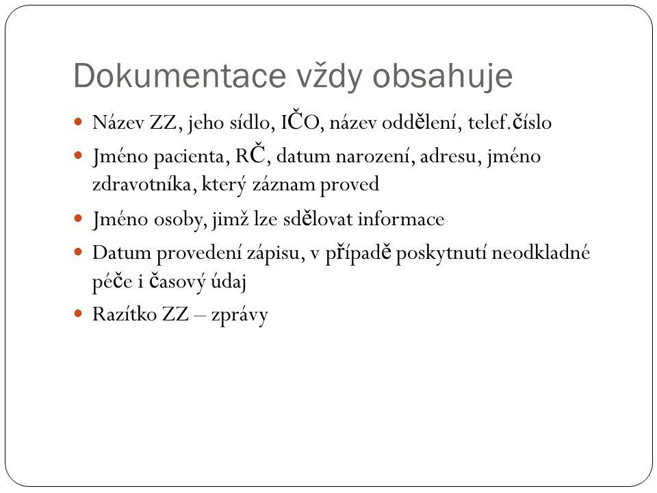 Dokumentace vždy obsahuje Název ZZ, jeho sídlo, I Č O, název odd ě lení, telef.