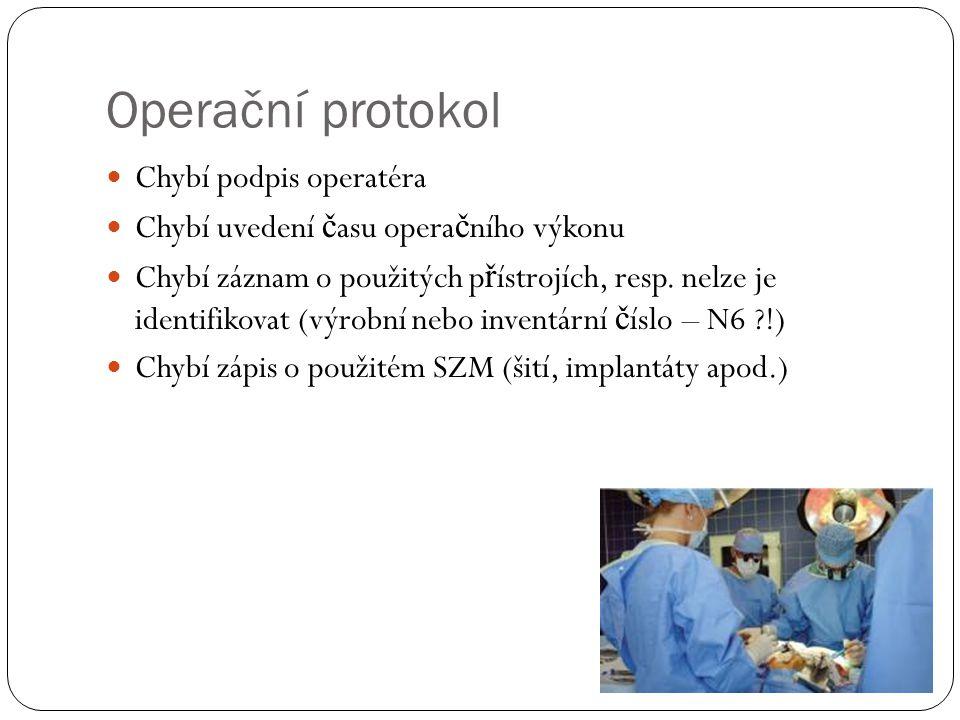 Operační protokol Chybí podpis operatéra Chybí uvedení č asu opera č ního výkonu Chybí záznam o použitých p ř ístrojích, resp.