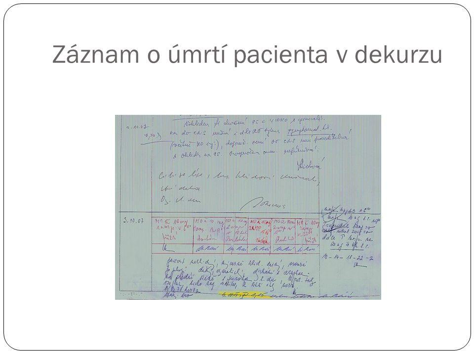 Záznam o úmrtí pacienta v dekurzu