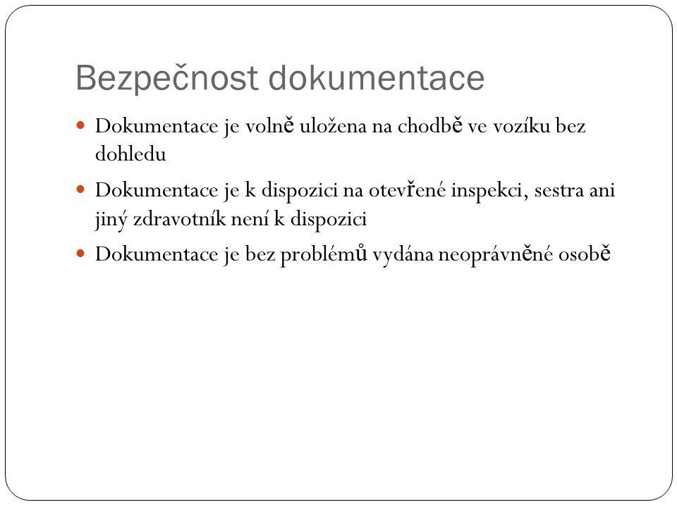 Bezpečnost dokumentace Dokumentace je voln ě uložena na chodb ě ve vozíku bez dohledu Dokumentace je k dispozici na otev ř ené inspekci, sestra ani jiný zdravotník není k dispozici Dokumentace je bez problém ů vydána neoprávn ě né osob ě