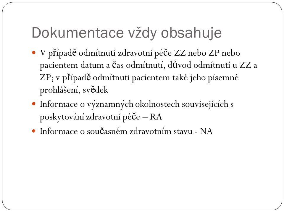 Dokumentace vždy obsahuje V p ř ípad ě odmítnutí zdravotní pé č e ZZ nebo ZP nebo pacientem datum a č as odmítnutí, d ů vod odmítnutí u ZZ a ZP; v p ř ípad ě odmítnutí pacientem také jeho písemné prohlášení, sv ě dek Informace o významných okolnostech souvisejících s poskytování zdravotní pé č e – RA Informace o sou č asném zdravotním stavu - NA
