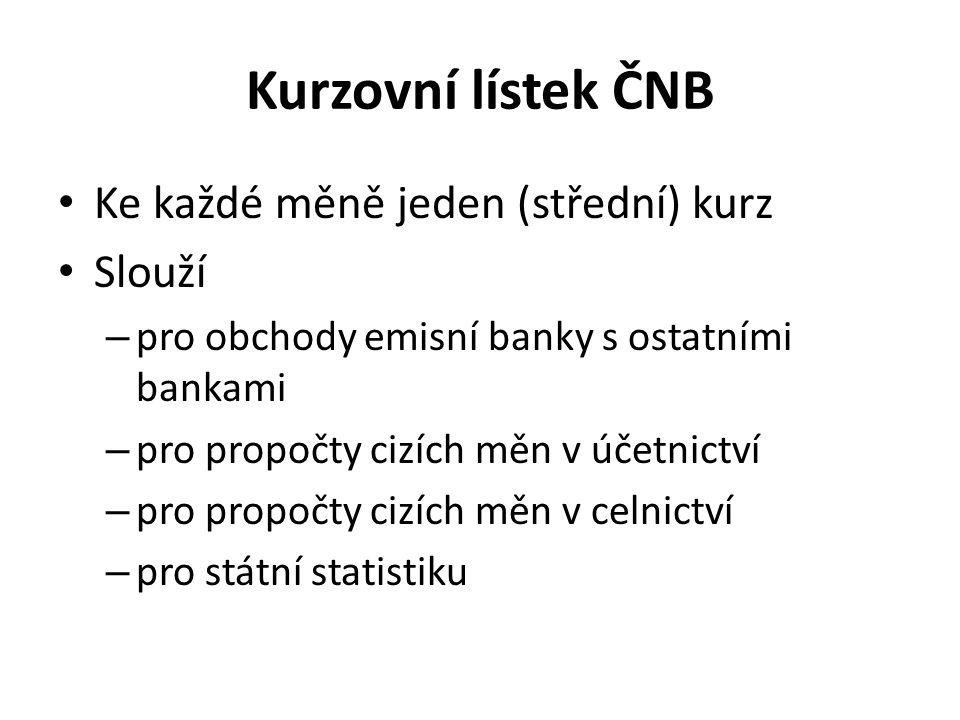 Kurzovní lístek ČNB Ke každé měně jeden (střední) kurz Slouží – pro obchody emisní banky s ostatními bankami – pro propočty cizích měn v účetnictví –