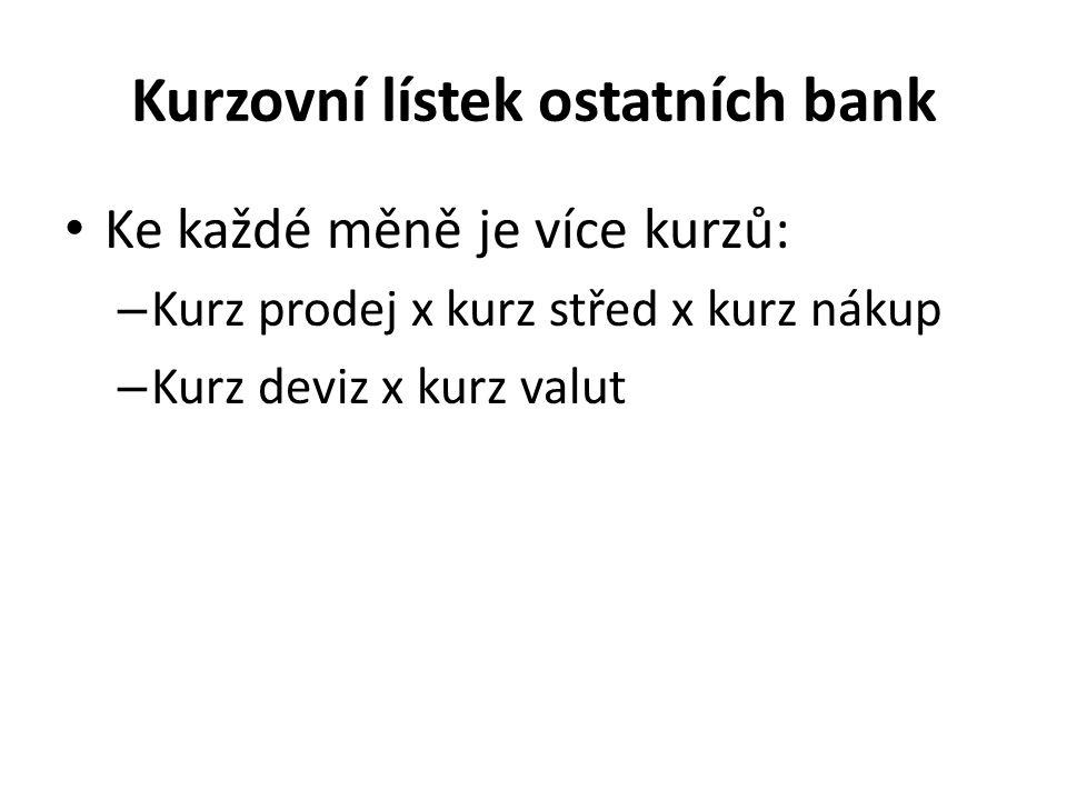 Kurzovní lístek ostatních bank Ke každé měně je více kurzů: – Kurz prodej x kurz střed x kurz nákup – Kurz deviz x kurz valut