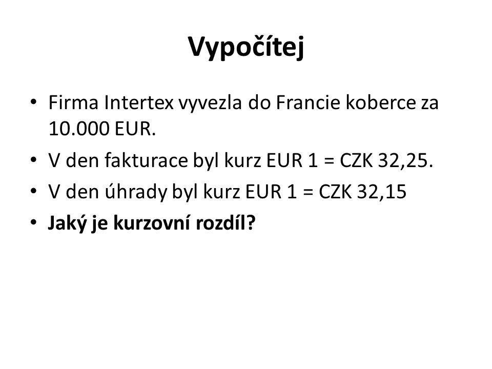 Vypočítej Firma Intertex vyvezla do Francie koberce za 10.000 EUR. V den fakturace byl kurz EUR 1 = CZK 32,25. V den úhrady byl kurz EUR 1 = CZK 32,15