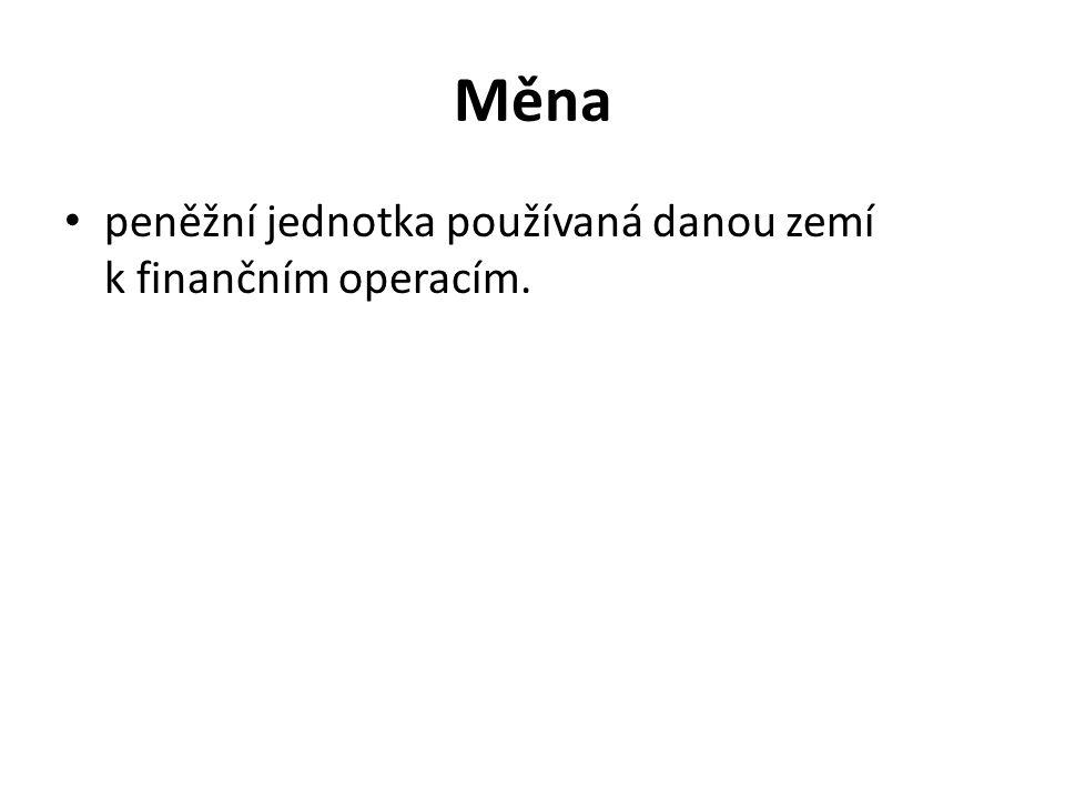 Měna peněžní jednotka používaná danou zemí k finančním operacím.