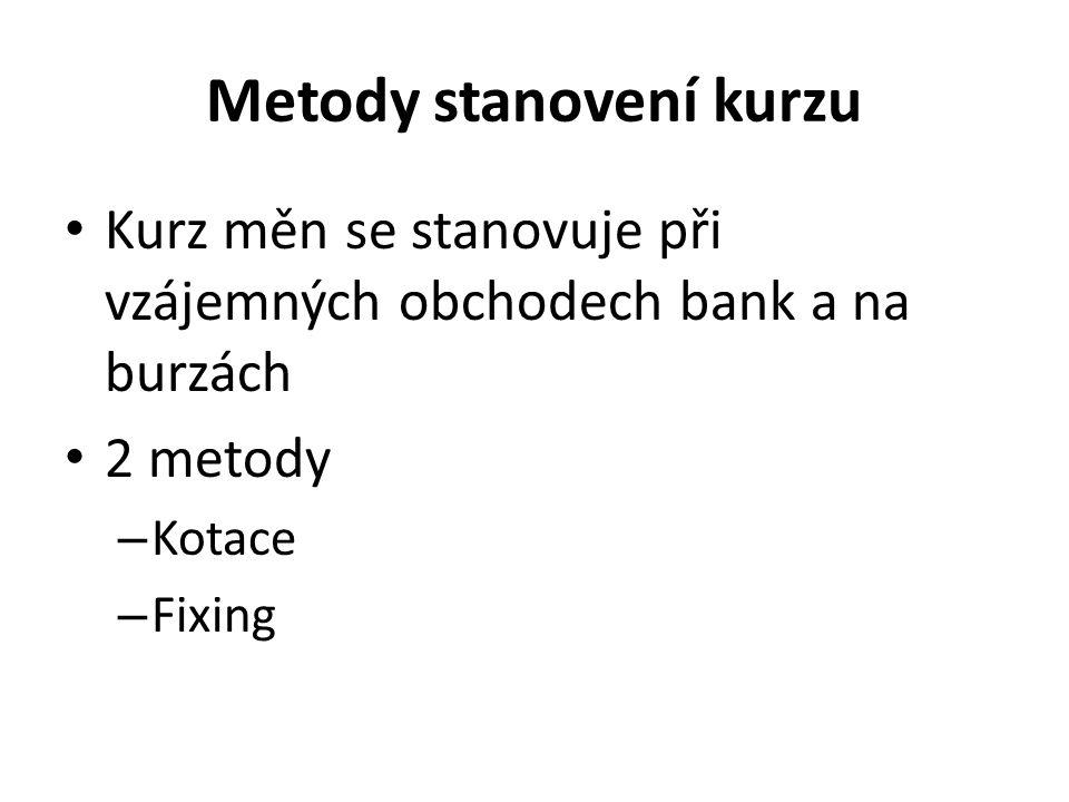 Metody stanovení kurzu Kurz měn se stanovuje při vzájemných obchodech bank a na burzách 2 metody – Kotace – Fixing