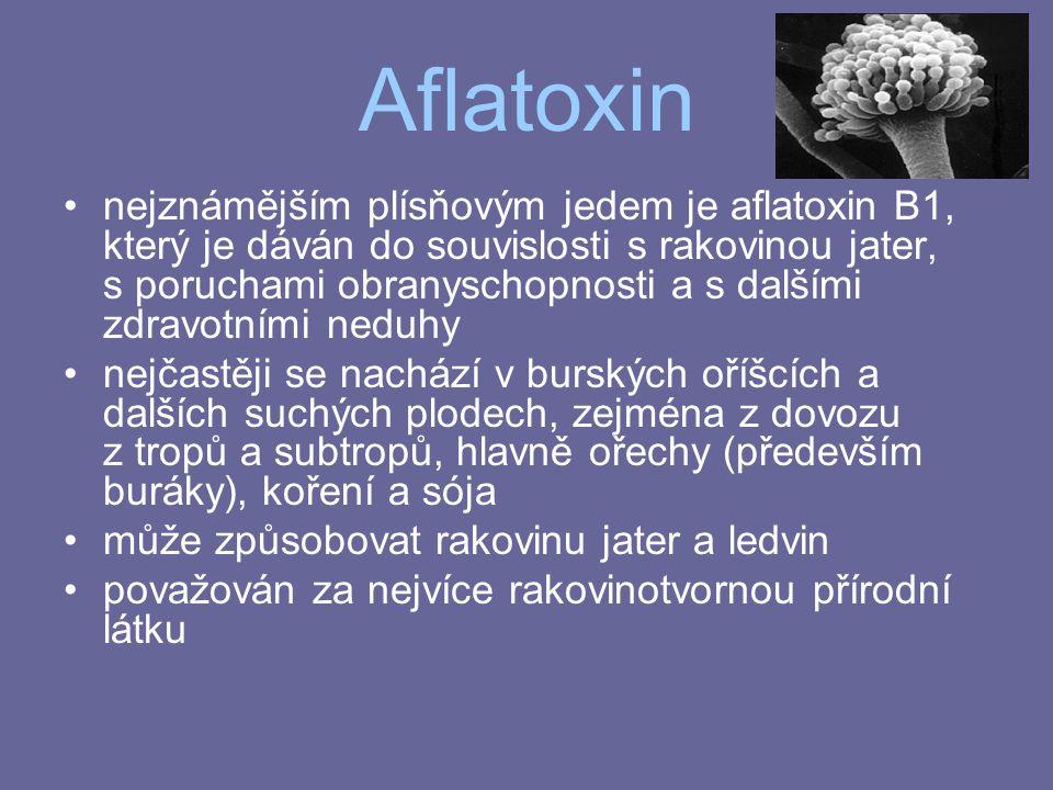 Aflatoxin nejznámějším plísňovým jedem je aflatoxin B1, který je dáván do souvislosti s rakovinou jater, s poruchami obranyschopnosti a s dalšími zdra