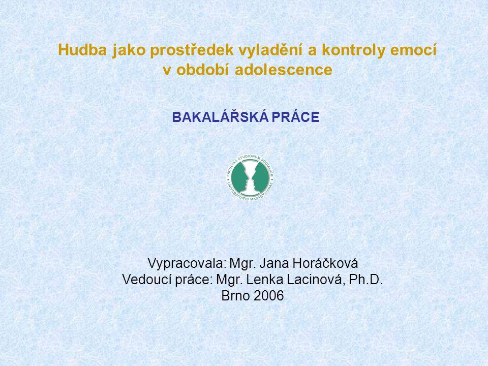 BAKALÁŘSKÁ PRÁCE Vypracovala: Mgr. Jana Horáčková Vedoucí práce: Mgr. Lenka Lacinová, Ph.D. Brno 2006 Hudba jako prostředek vyladění a kontroly emocí