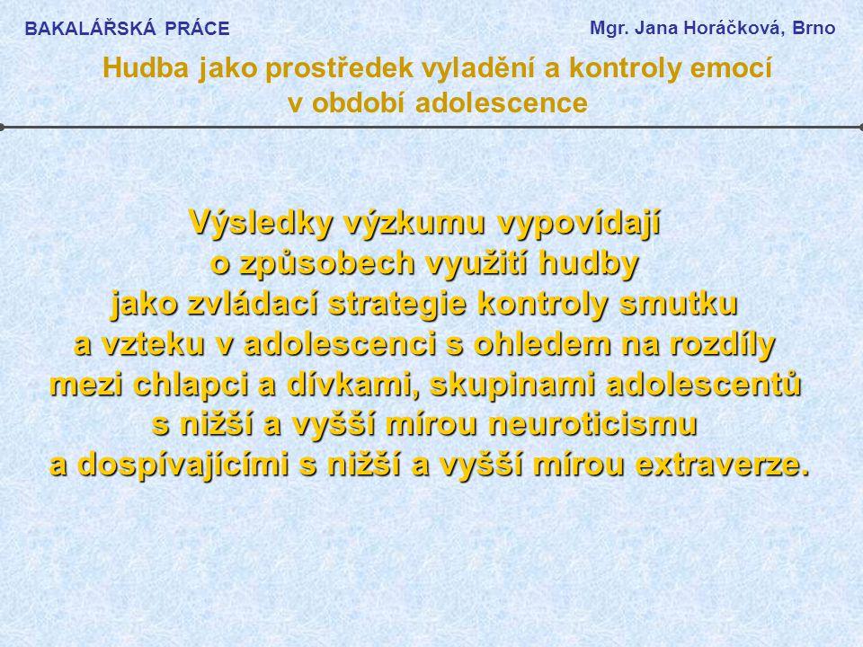BAKALÁŘSKÁ PRÁCE Mgr. Jana Horáčková, Brno Hudba jako prostředek vyladění a kontroly emocí v období adolescence Výsledky výzkumu vypovídají o způsobec