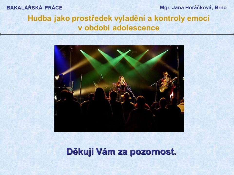 BAKALÁŘSKÁ PRÁCE Mgr. Jana Horáčková, Brno Hudba jako prostředek vyladění a kontroly emocí v období adolescence Děkuji Vám za pozornost.